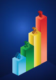 2d business statistics. In blue background Royalty Free Stock Images