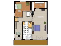 2D floor plan of the house second level. 2D floor plan with bedrooms, office, bathroom and closet Stock Photos
