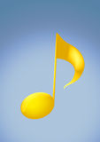 2d golden Music Note. In solid background Stock Images