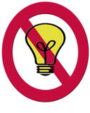 A 2D illustration of a filament lightbulb and a red ban symbol t Royalty Free Stock Photo