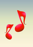 2d Music Notes. In gradient background Royalty Free Stock Photography