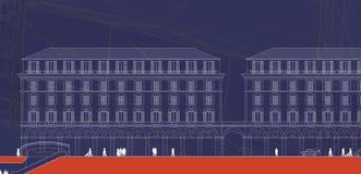 2D Plan der alten Gebäude Stockfotos
