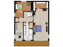 2D programma di pavimento del livello della casa seconda. Fotografie Stock