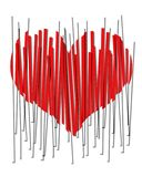 A 2D red beveled heart in vertical strips. Broken heart. A heart on the mend physically or emotionally Stock Images