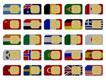 2D Schede di SIM rappresentate come bandierine Immagini Stock