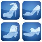 2d set skor för koboltsymboler s square kvinnan Arkivbild