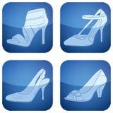 2d set skor för koboltsymboler s square kvinnan Fotografering för Bildbyråer