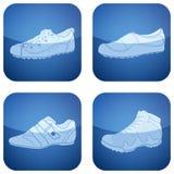 2d set skor för koboltsymboler s square kvinnan Royaltyfri Bild