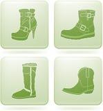 2d set skor för symbolsolivine s square kvinnan Royaltyfri Bild