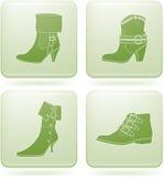 2d set skor för symbolsolivine s square kvinnan Royaltyfria Bilder