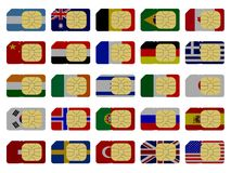2D SIM cards represented as flags. Of different countries Stock Images