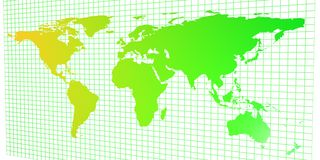 2D world map. In a 3D space: Asia view Royalty Free Stock Photography