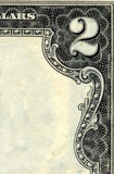 2dollar bill corner. A corner of a 2 dollar bill, cleaned of interior text Stock Images