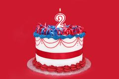 2nd Cake. Fancy cake with number 2 candle Royalty Free Stock Image