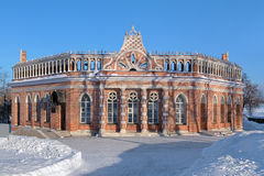 2nd Cavalier's Building in Tsaritsyno, Moscow. 2nd Cavalier's Building (Octahedron) in Tsaritsyno museum-reserve in winter, Moscow, Russia Stock Photos