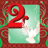 2nd Day of Christmas. Vector Illustration Card for the 12 days of Christmas. Two Turtle Doves Stock Photography