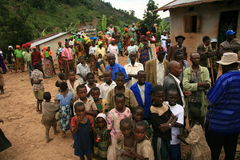 2nd Nov 2008. Refugees from DR Congo. 2nd November 2008. Refugees cross from DR Congo into Uganda at the border village of Busanza Royalty Free Stock Photos