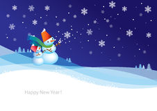 2Snowman D. New year card background, illustration Stock Photo