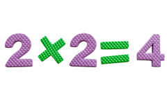 2x2, simple mathematical formula. Over white royalty free stock photo
