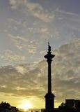 3ème fléau de Vasa de Sigismund. Coucher du soleil à Varsovie Photo stock