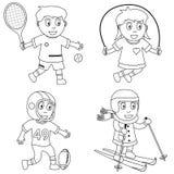 3个上色孩子体育运动 免版税库存照片
