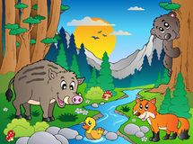 3个动物多种森林场面 库存照片