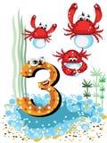 3个动物螃蟹孩子编号海运系列 库存图片