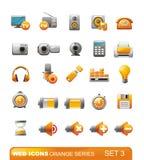 3个图标橙色系列集合万维网 库存照片