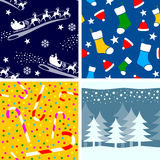 3个圣诞节无缝的瓦片 库存图片