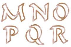 3个大写字母概述木头 库存图片