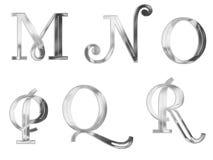 3个大写字母银 免版税库存照片