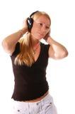 3个女孩耳机 免版税库存照片