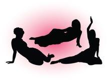 3个女孩被设置的剪影 向量例证
