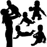 3个婴孩剪影 库存例证