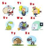 3个字母表滑稽动画片的收藏 免版税库存图片
