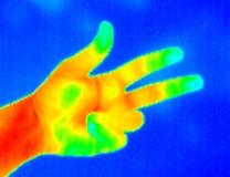 3个手指自计温度计 库存图片