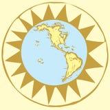 3个指南针地球上升了 免版税库存照片