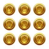 3个按钮金图标设置了万维网 库存照片