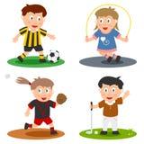 3个收集孩子体育运动 免版税库存图片