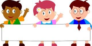 3个横幅孩子 库存图片