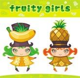 3个水果的女孩系列 皇族释放例证