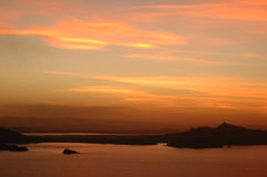 3个湖日落titicaca 免版税库存图片