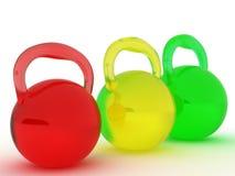3个玻璃体育运动三个重量 库存图片