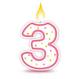 3个生日蜡烛 库存例证