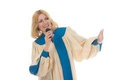 3个线索称赞歌唱家妇女 免版税库存图片