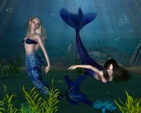 3个美人鱼 库存照片