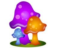 3个艺术夹子五颜六色的蘑菇 库存照片