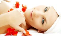 3个花瓣红色温泉 库存图片