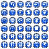 3个蓝色按钮来回万维网 免版税图库摄影