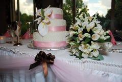 3个蛋糕表婚礼 免版税图库摄影